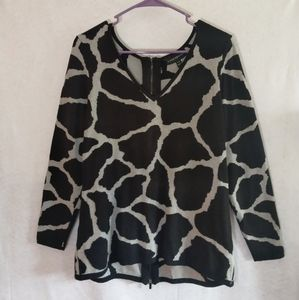 Lane Bryant sweater full zip animal print sz 14/16